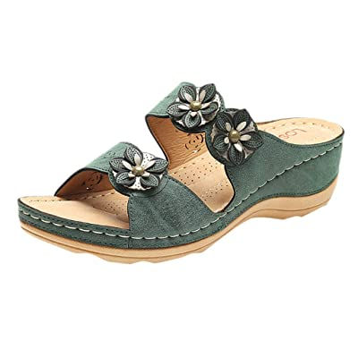 Moilant Slippers for Women,Casual Cute Applique Wedges Slippers Open Toe Platform Sandals Comfortable Shoes: Clothing