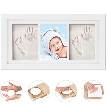 belle qualité plus près de prix limité WesKimed Empreinte de main et de pied souvenir bébé,Argile blanche non  toxique,cadre empreinte bébé en bois avec verre acrylique sûr,excellent  cadeau ...