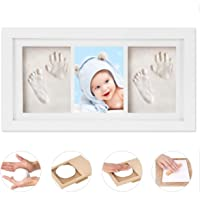 Baby Handprint Kit & Footprint Photo Frame for Newborn Girls and Boys, Memorable Souvenir, Non-Toxic, Ideal Baby Gifts,Wooden Frame and Acrylic Glass, Ideal Decoration or Baby Shower Gift