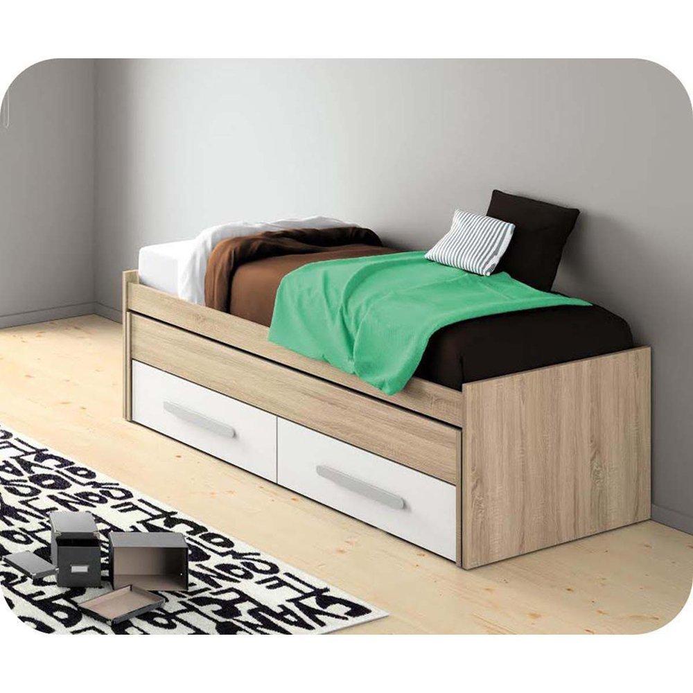 Paket Ausziehbett Planet Eiche Farbe und weiß mit Schubladen und 2 Matratzen