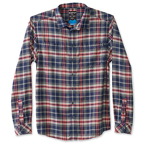 KAVU Men's Morton Button Down Shirt, Midnight, Large (Flannel 5 Oz Shirt)