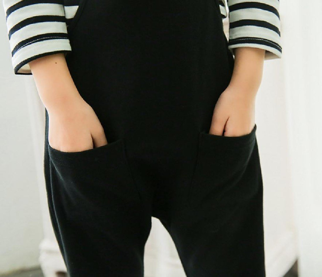 Sheng Xi Girls Stripes Casual Fine Cotton Tops +Pants Overalls Outfits Black 120 by Sheng XiBaby (Image #3)