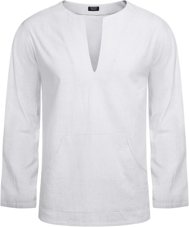 COOFANDY Mens Cotton Linen Henley Shirt Long Sleeve Hippie Casual Beach T Shirts