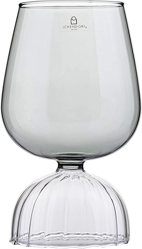 10 x 9.5 cm Borosilicate Glass Ichendorf Milano Tut/ù Colore Glass Goblet Transparent//Amber Modern Italian Design