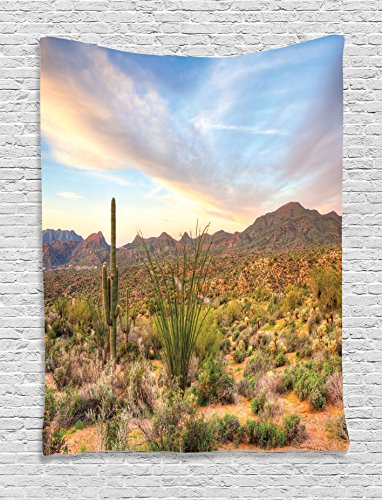 Ambesonne Saguaro Cactus Decor Collection, Sunset at Bartlet