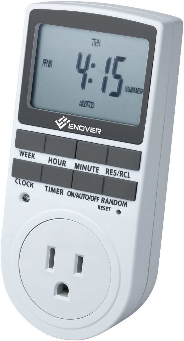 7-Day Digital Programmable 12//24 Hour Timer Plug ON//OFF Socket Switch Grounded
