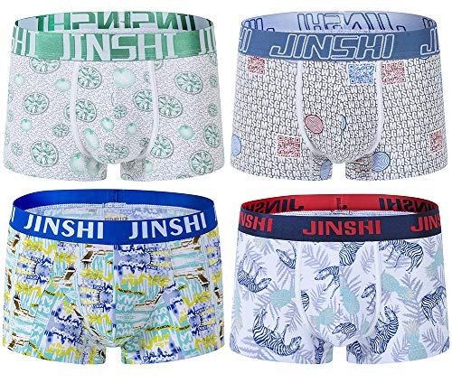 Jinshi Men's No-Ride-up Boxer Briefs Printed Tagless Bamboo Fiber Underwear with Pouch 4-Pack