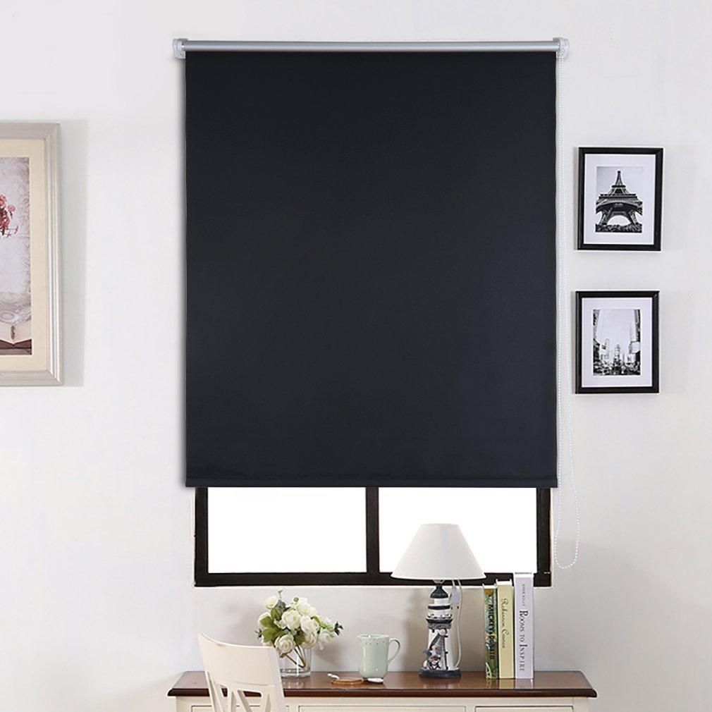 SHINY HOME/® 80 CM x 175 CM Le Store Enrouleur Noir Occultant Thermique Polyester Enduit Dargent Toile Dombrage pour Fen/être