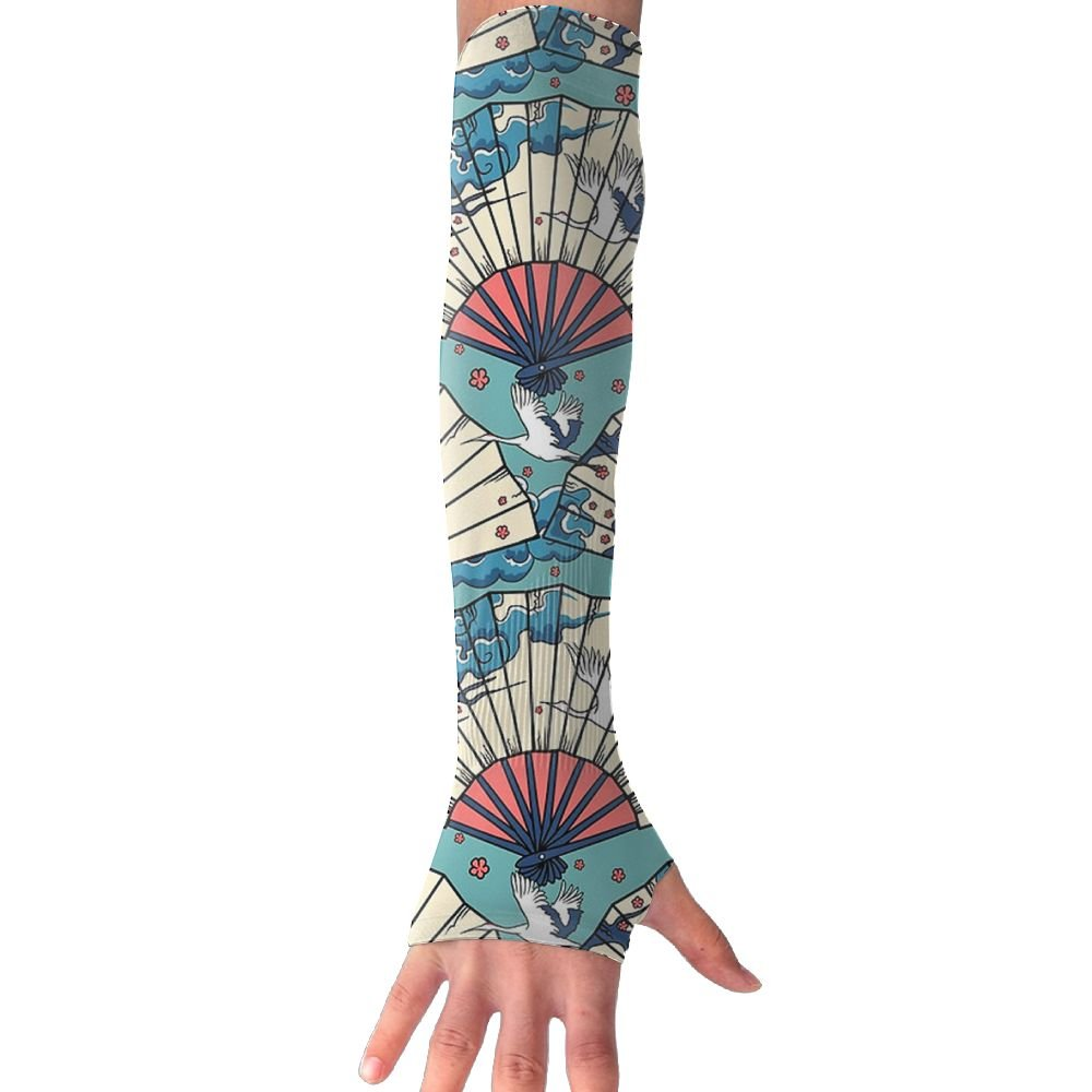 Unisex Fan White Crane Chinese Style Sense Ice Outdoor Sports Arm Warmer Long Sleeves Glove