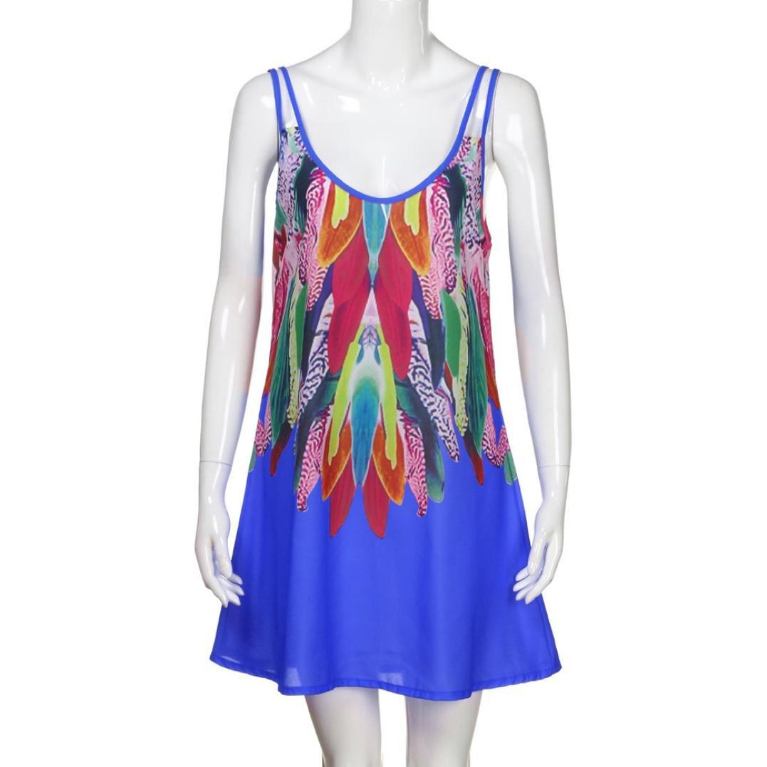 Vestidos mujer verano 2018, Amlaiworld Vestido de playa de verano mujer Vestido maxi de la fiesta impresa Casual Boho de mujeres Vestido de cóctel Vestido ...