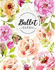 Bullet journal: quarterly planner with blank yearly & monthly calendar, and habit tracker, 120 dot grid & 15 lined pages, 8.5x11in, floral softcover: Professional design large diary journal to write in everyday life
