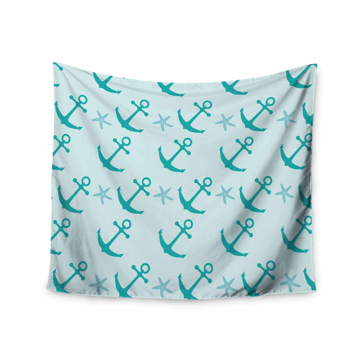 Kess InHouse afe Images Mint Anchors Teal Blue Illustration Wall Tapestry