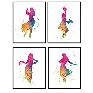 Hula Girl Hawaiian Art – 8x10 Watercolor Wall Art Prints, Tropical Home Decor Set - Chic Unique Gift for Kids or Girls Room, Bedroom - Chic Hawaii Home Decor – Unframed Posters, Prints, Pictures