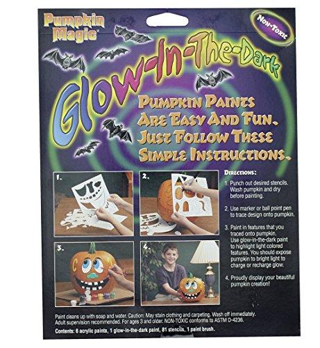 Glow In The Dark Pumpkin Jack O Lantern Decorating Paint Kit - Includes 81 Stencils & 7 Paints