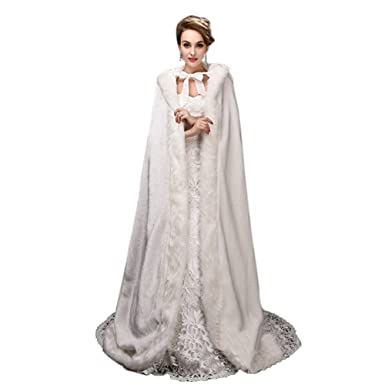 Telamee Wedding Cloak Velvet Long Bridal Cape Hooded Faux Fur Winter Wrap Stoles - Ivory -