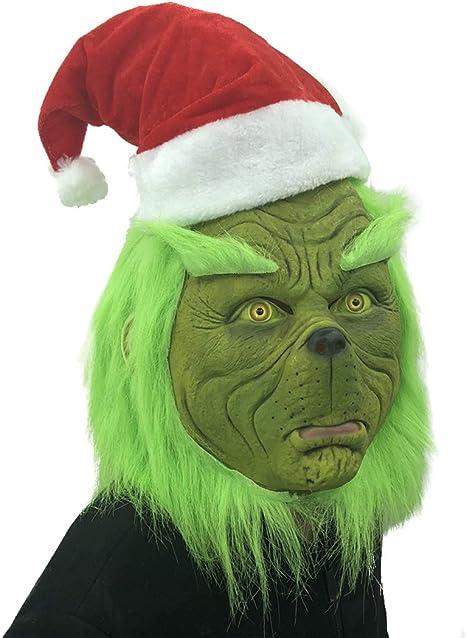 FUGUI Grinch Máscara de Adulto Máscara de Navidad Cosplay Disfraz ...