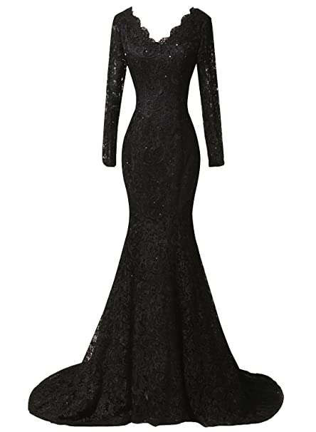 Amore Bridal Double V Neck Mermaid Long Sleeves Black Lace Formal