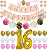 PINK 16th BIRTHDAY PARTY DECORATIONS KIT - Pink Gold and Cream Paper PomPoms  Latex Balloons   Gold Number 16 Ballon   Circle Garland   16th Birthday Balloons   Sweet 16 Party Supplies