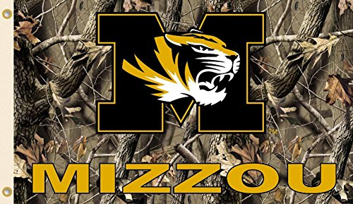 NCAA Missouri Tigers Flag With Grommets Realtree Camo Background 60 x 36in