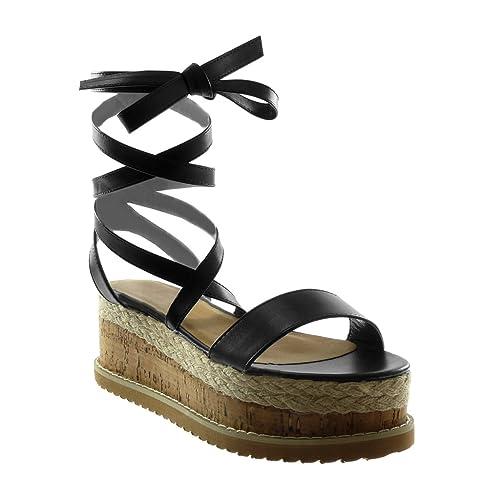 Angkorly Chaussure Mode Sandale Mule Montante Plateforme Femme Lacets Corde  Liège Talon Compensé Plateforme 7 CM 7eff3f029562