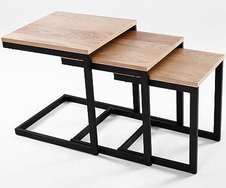 Newark - Mesa auxiliar nido, diseño industrial (lote de 3 mesas ...