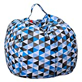 Fullbeing Multifunctional Stuffed Animal Storage Bean Bag Chair for Kids, Teens & Adults-20-Inch Space Saver to Store Soft or Stuffed Toys, Blankets, Clothing
