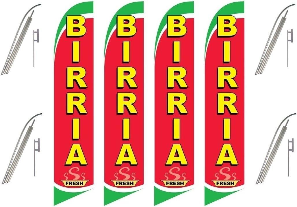 Pack Swooper Flags /& Pole Kits Birria Fresh Red White Green Yellow Four 4