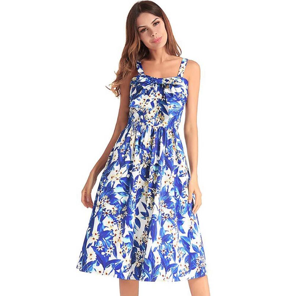 30bfde8a54 Amazon.com   Onfly Women Sweet Floral Bowknot Suspenders Dress Retro Tube  Top Swing Midi Skirts Fold High Waist Zipper A Line Skirt OL Dress Party  Dre Eu ...