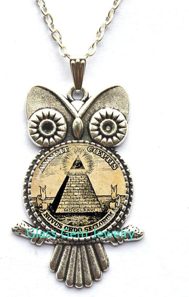Annuit Q0272 - Colgante con diseño de búho pirámide de Egipto, ojo de la Providencia, Maic Illuminati Maic, signo de maic, geometría sagrada búho, Q0272