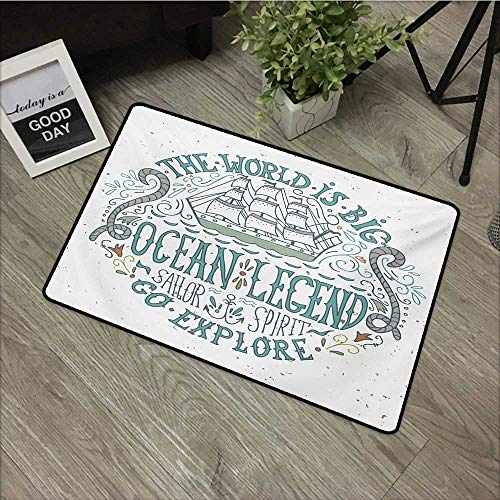 (Hall mat W19 x L31 INCH Explore,Vintage Nautical Design with Ocean Legend Sailor Spirit Quote and a Hand Drawn Ship,Multicolor Non-Slip, with Non-Slip Backing,Non-Slip Door Mat Carpet )