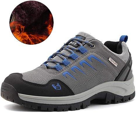 Confort Calzado hombre, gamuza de cuero de invierno deportivo, zapatos atléticos casuales zapatos para caminar, zapatos para caminar botines calientes, cargadores del tobillo Negro, gris, ,Gray,41EU: Amazon.es: Deportes y aire libre