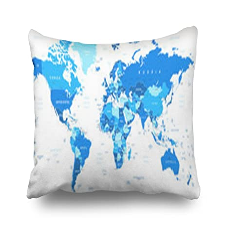 Sneeepee Fundas decorativas de almohada, diseño de mapamundi ...