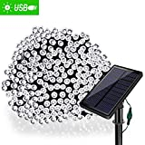 Solarmks Outdoor String Lights Solar Christmas Lights 77 ft 8 Modes 220 Led Fairy Lights Outdoor Waterproof Garden Lights for Outdoor Decoration, Ambiance lighting for Patio,Lawn, Xmas Tree(White)