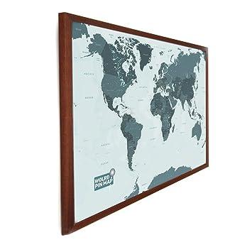 Laminated World Pinboard Map Monotone X Cm New Design - World pinboard map wood framed
