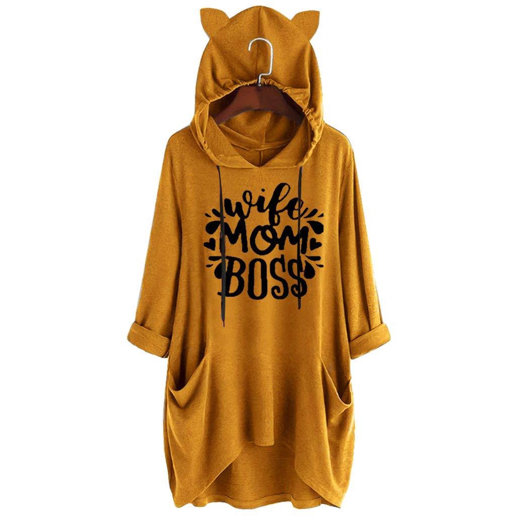 UJUNAOR Damen Hoodie Damen Langarm Sweatshirt Damen Langarm Hoodies Casual Herbst Kleid Frauen-beil/äufige mit Kapuze Lange H/ülsen-Katzen-Ohr-Druck-Taschen-Hemd-unregelm/ä/ßige Spitzenbluse