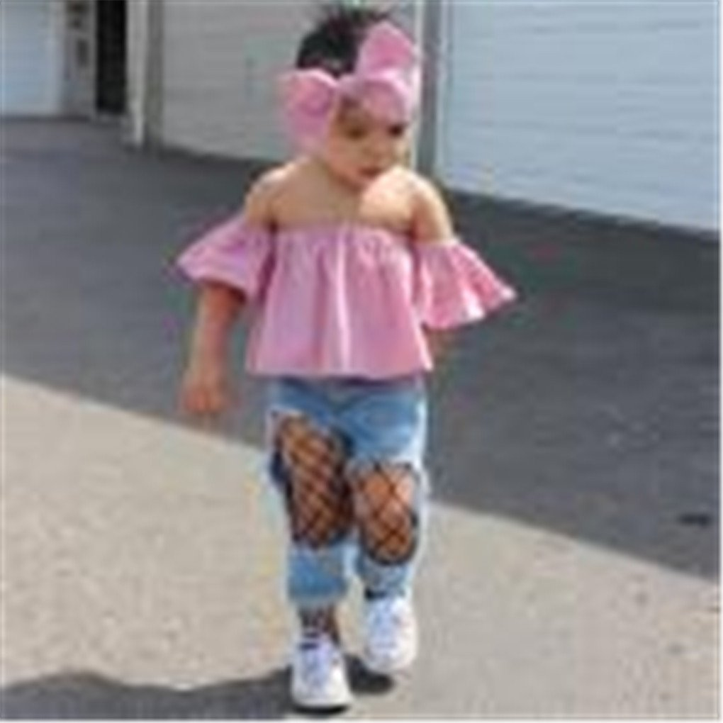 Girls Clothes Set JYJM for 1-6 Years Old Kids Toddler Kids Baby Girl Off Shoulder Ruffle T-Shirt Tops Summer Clothes Outfits Flare Sleeve Short Top and T-Shirt Dress for Girl