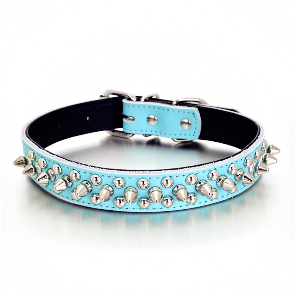 bluee L(neck 14.5-18\ bluee L(neck 14.5-18\ HOOTMALL Soft Genuine Leather Adjustable Spiked Studded Rivets Dog Collar for Puppy Small and Medium Dog