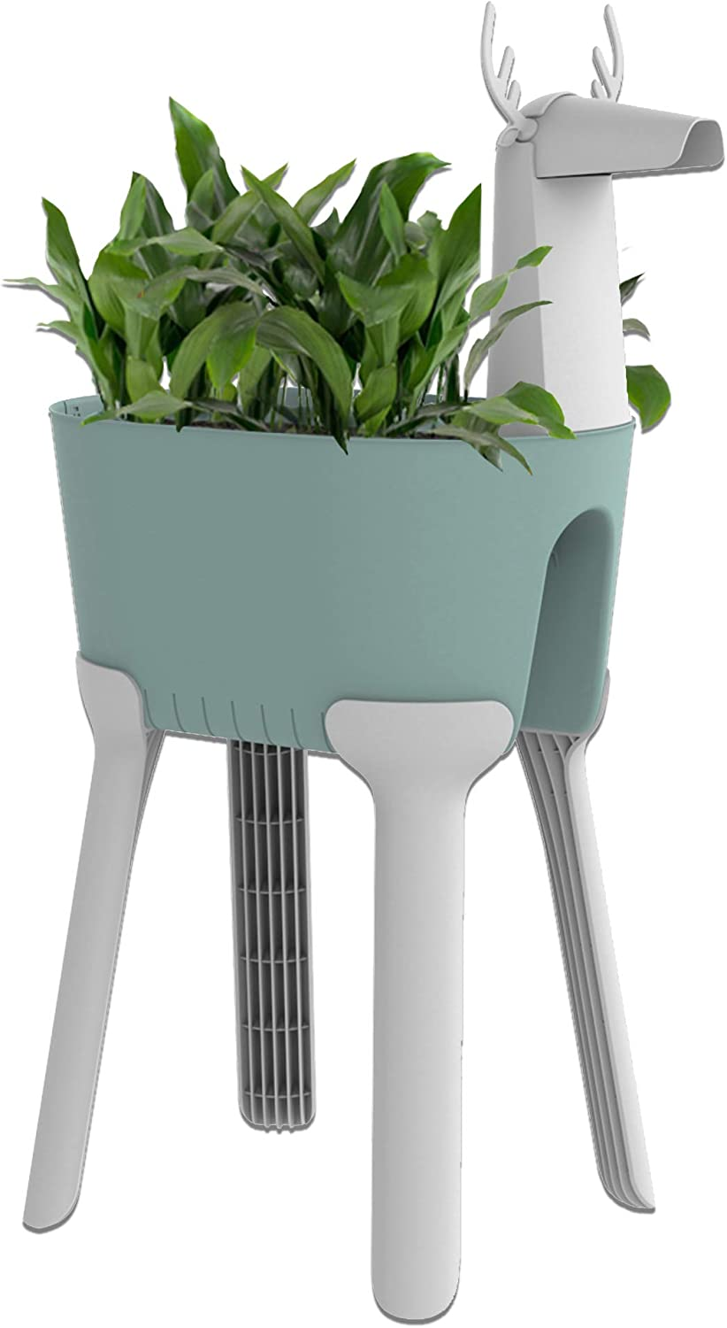 Sunzoo Rob Deer Decoration Planter: 2 in 1 Teal Animal Rail Planter, Indoor Outdoor, Patio, Balcony, Urban Garden Planters, Easy Assembly, Drainage