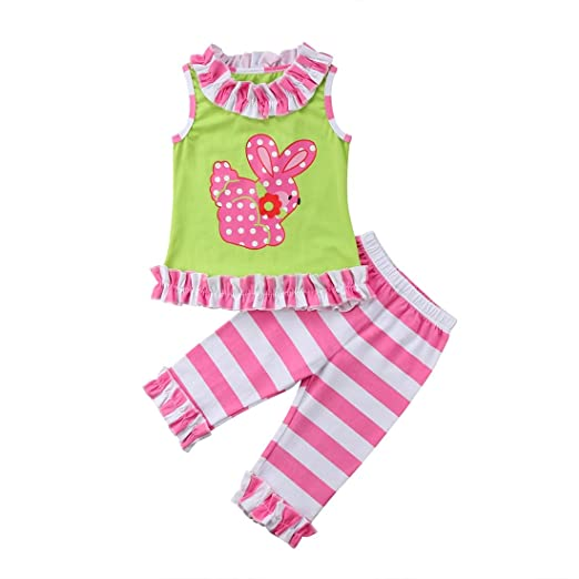 e7cf474039a Cute Baby Girl Sleeveless T-Shirt Tops+Ruffles Stripe Long Pants Outfit  Casual Outfit