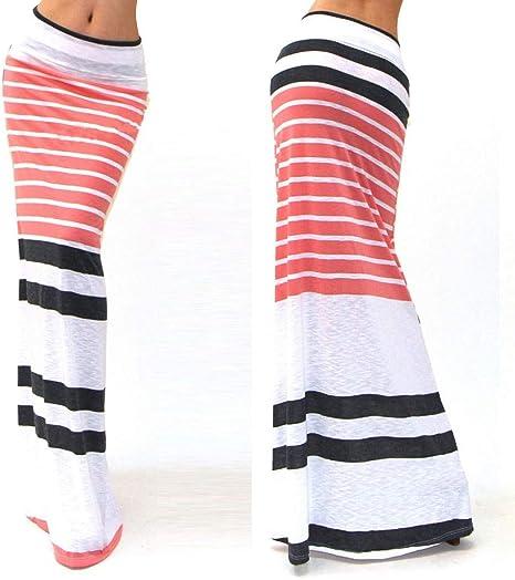 HEHEAB Falda,Blanco Moda Mujer Plus Size Piso-Longitud con Stretch ...