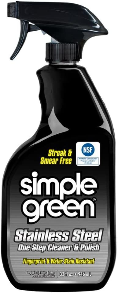 Simple Green Stainless Steel One-Step Cleaner and Polish, Spray Bottle 32 fl oz, Streak & Smear Free