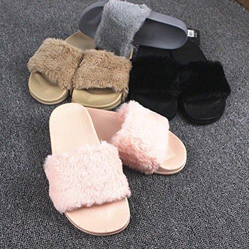 Minetom Herren Damen Winter Baumwolle Pantoffeln Soft Plüsch Wärme Weiche Hausschuhe Kuschelige Home Rutschfeste Slippers Nette Bärnhandschuhe F- Rosa Schwarz
