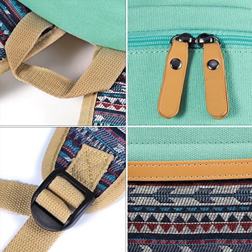 Plambag Canvas Backpack Set 3 Pcs, Casual Lightweight School Backpack for Women Teen Girls Water Blue