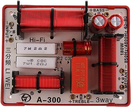 180W Altavoz Graves Divisor de Frecuencia de Audio Subwoofer Filtros de Crossover de 3 Vías Hi/Mi/Lo