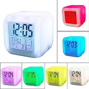 Risingmed - Reloj despertador digital LED, con 7 colores, función de hora, fecha y temperatura, color blanco: Amazon.es: Hogar