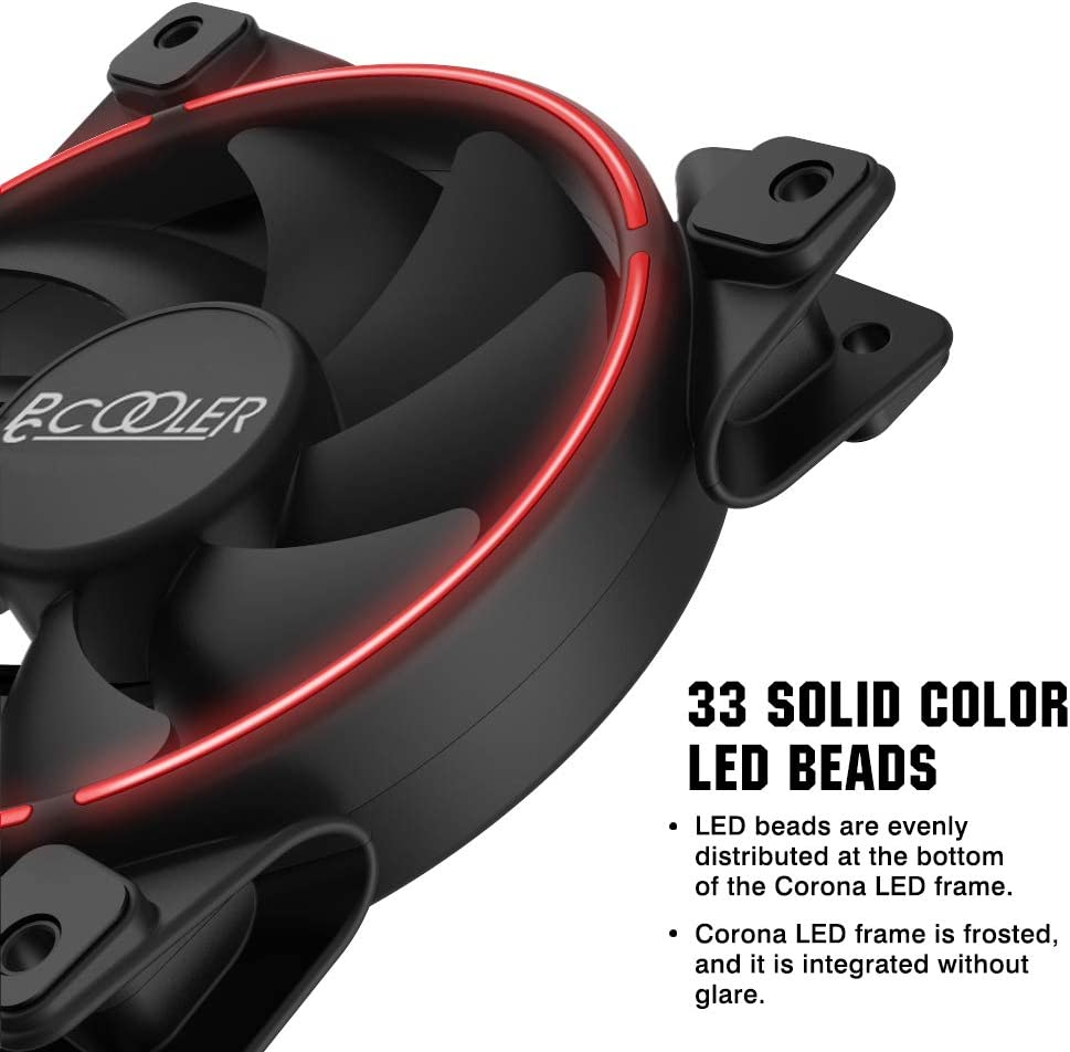 Pccooler 120mm Fan Moonlight Series Radiators System Dual Light Loop Quiet Fan for PC Cases CPU Coolers PC-M120R LED Red Computer Case Fan PC Cooling Fan