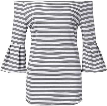 PARVAL Elegante Blusa a Rayas para Mujer Camiseta con ...