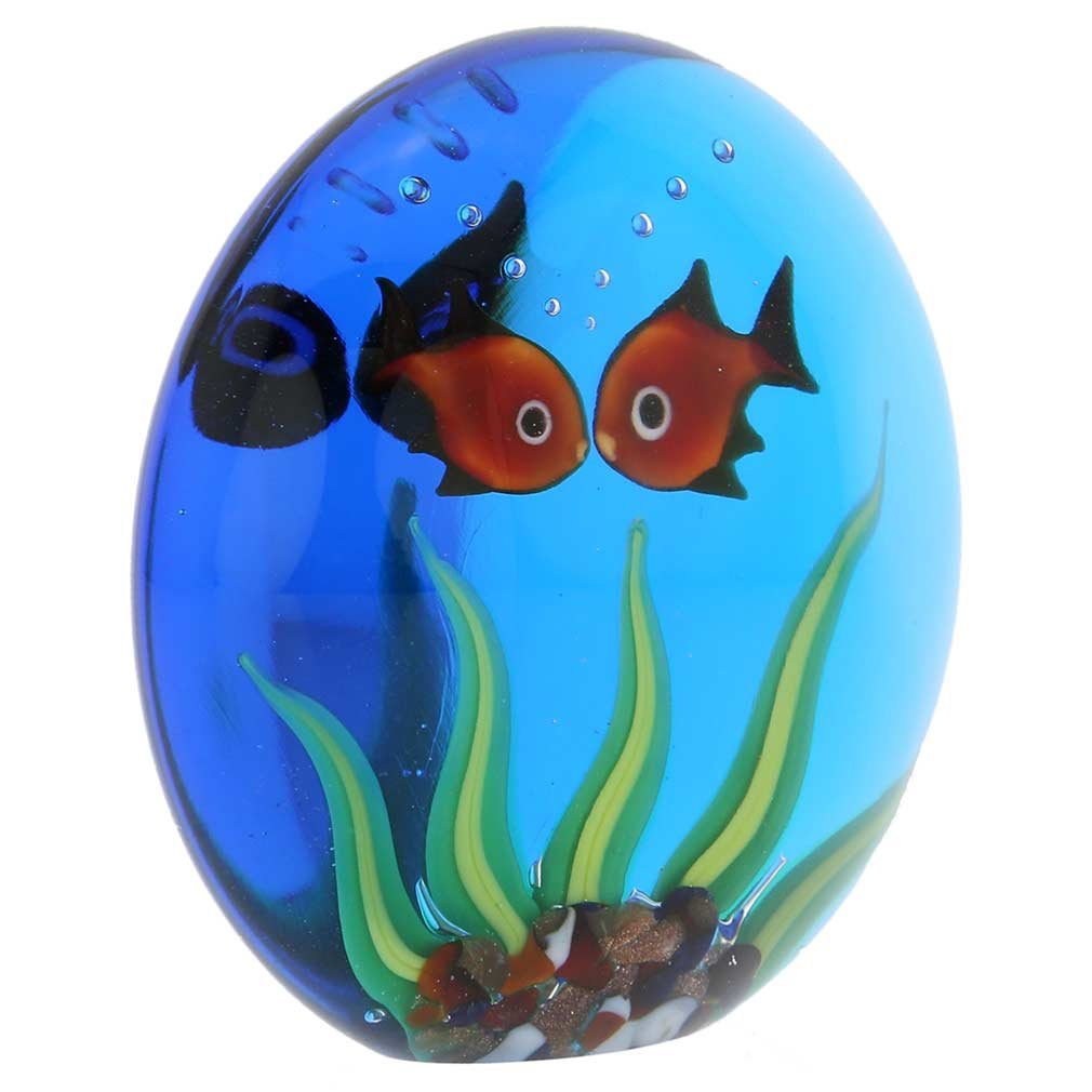 Amazon.com: GlassOfVenice Murano Glass Aquarium With Goldfish: Office Products
