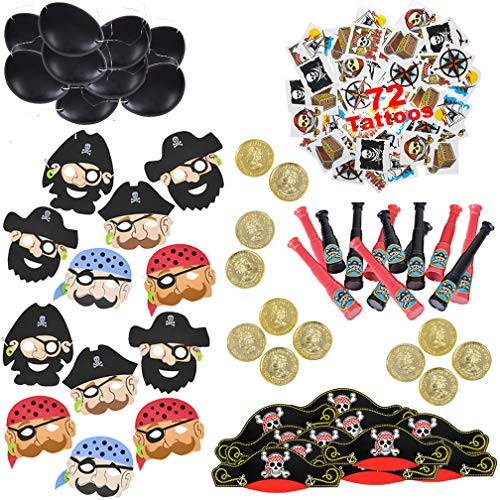 Pirate Party Supplies and Favors for Boys and Girls   Toys and Novelties for 12 Kids   Pirate Hat, Eye Patch, Telescope, Tattoos, Face Mask and Gold Coins   -