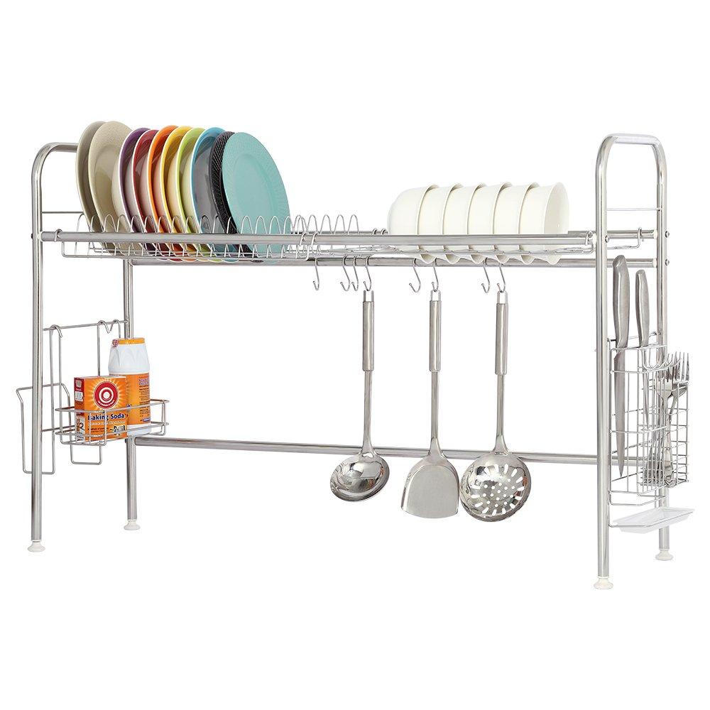 NEX Dish Drying Rack Stainless Steel Dish Storage with Chopstick Holder Rrustless(Single-layer)